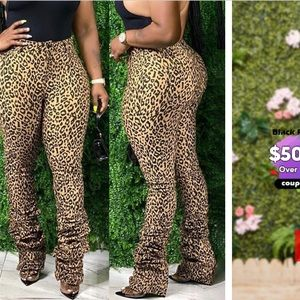 Leopard Stretch stacked pants